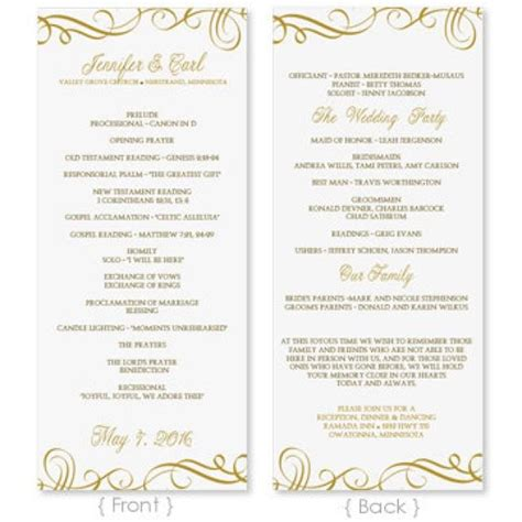 Wedding Program Template Download Instantly Edit Yourself Elegant Swirls Gold Tea Length Free Wedding Program Templates For Microsoft Word