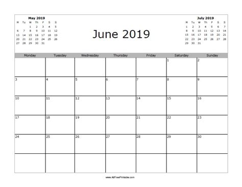 Calendar 2019 June June 2019 Calendar Free Printable Allfreeprintable