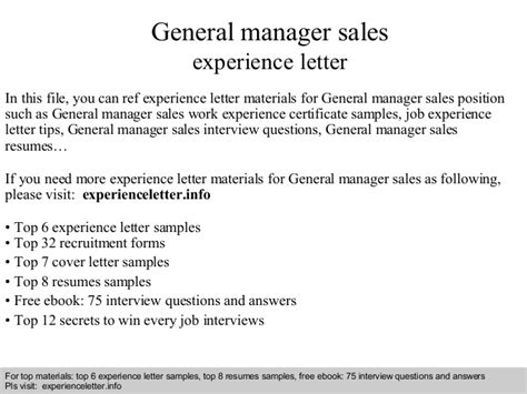 Work Experience At Gp Letter Sles General Manager Sales Experience Letter