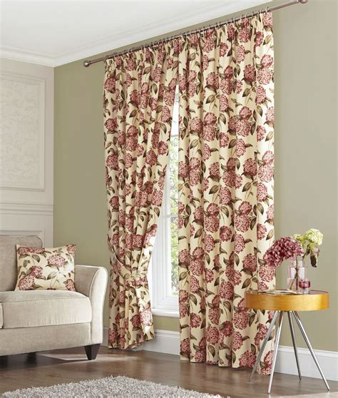Pink Floral Curtains Pink Floral Pencil Pleat Ready Made Lined Curtains Tiebacks Ebay