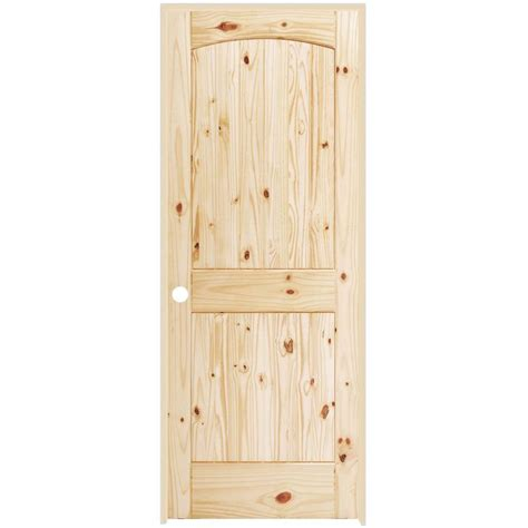 Steves Sons 32 In X 80 In 2 Panel Round Top Plank Interior Knotty Pine Doors