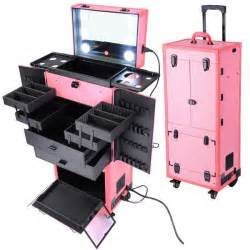 makeup suitcase with lights and mirror artist rolling makeup cosmetics w led lights