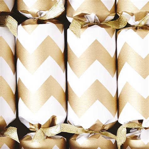 gold chevron white christmas crackers by sophia victoria joy notonthehighstreet com