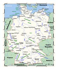 map of with major cities geography detailed map of germany