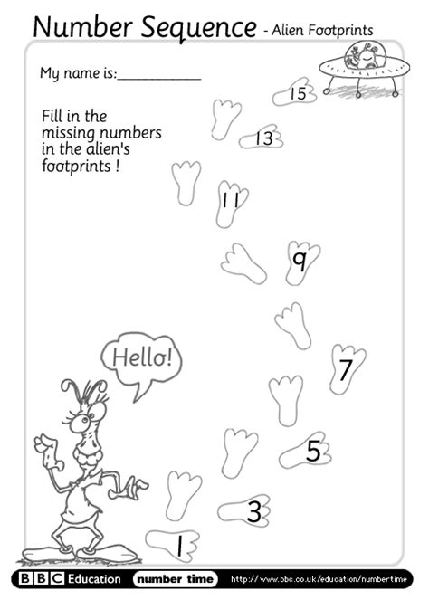 find pattern sequence numbers bbc numbertime print do sequence alien footprints