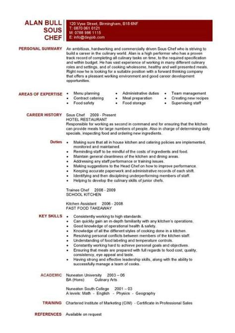 Sous Chef Resume Template by Chef Resume Sle Exles Sous Chef Free