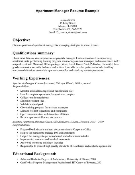 Manager Resume Objective Exles Property Manager Resume Sle Sle Resumes