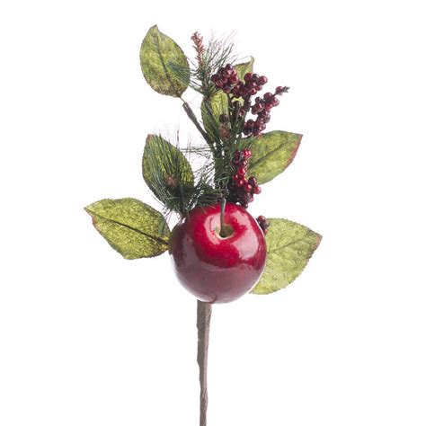 artificial apple and pine spray picks and stems floral