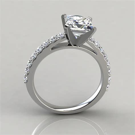 princess cut cathedral style engagement ring puregemsjewels