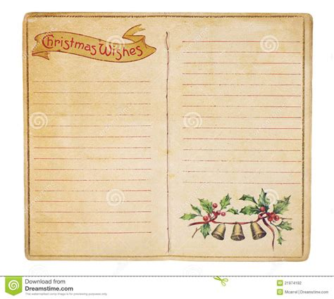 vintage christmas list booklet stock photo image 21974192