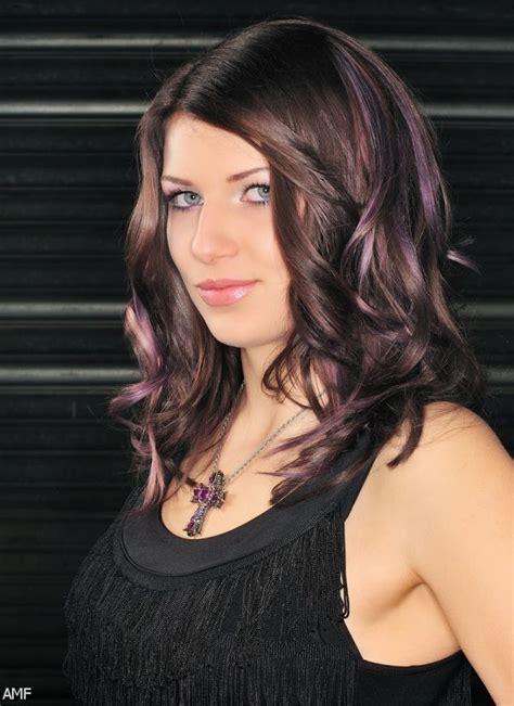 dark brown hair  purple highlights