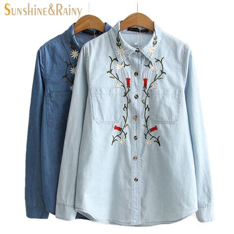 Embroidery Denim Shirt 2016 autumn winter floral embroidery denim shirt