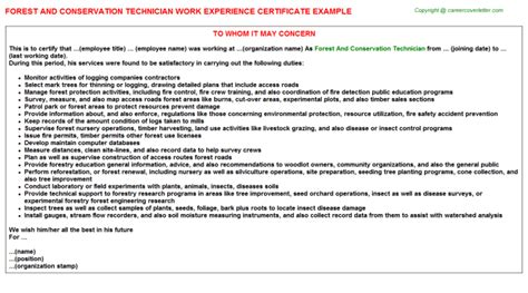 Soil Conservation Technician Cover Letter by Conservation Technician Work Experience Certificates