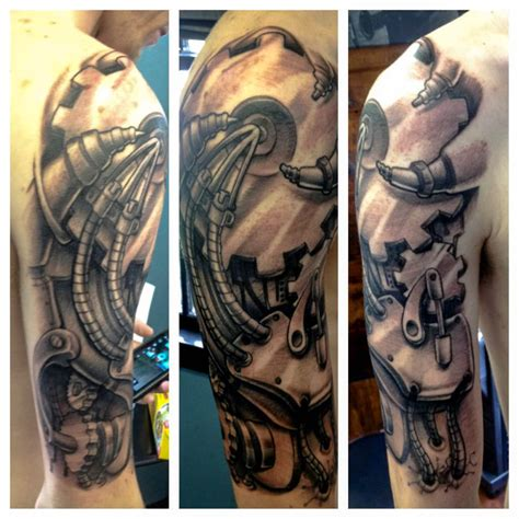 random sleeve tattoo amazing grey ink biomechanical on half sleeve