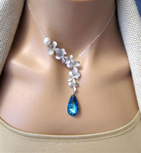 Bros Swarovski Orchid Bermuda Brooch By Vertere silver orchids pearl and bermuda blue swarovski necklace s day gift bridal