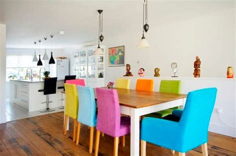Colourful Dining Table And Chairs Colorful Dining Chairs With Wooden Dining Table Decolover Net