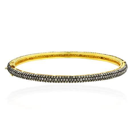 Handmade Gold Bangles - 6 04ct pave bangle 14k gold 925 sterling