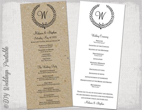 diy wedding programs templates free wedding program template rustic black leaf garland