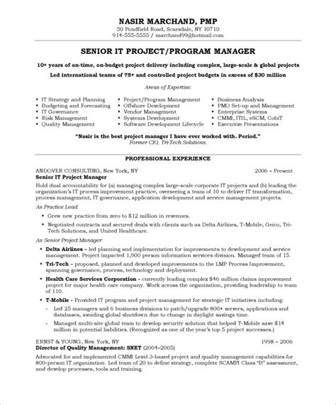 management resume exles sle resume for project manager sle resumes