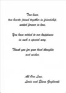 wedding thank you cards exles wedding thank you note exles wedding invitation sle