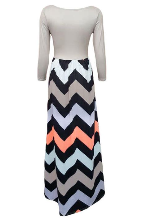 black and white pattern long sleeve dress formal dresses local stock womens grey coral white and