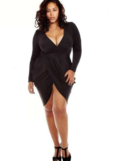 Paya Batwing Black club dresses for plus size kzdress