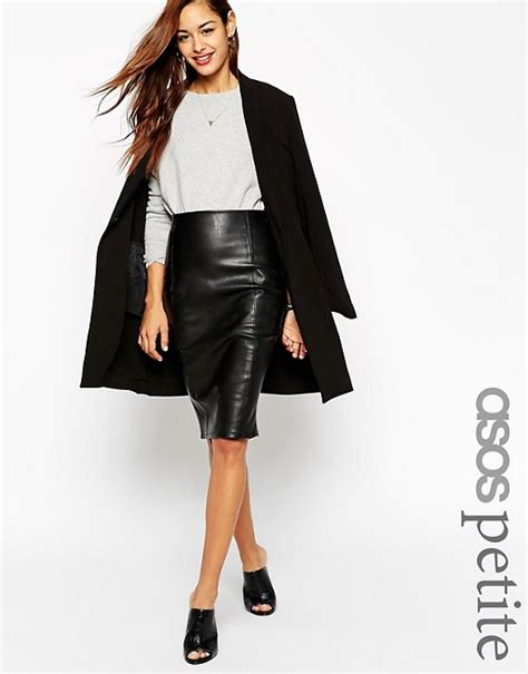 asos asos pencil skirt in leather look