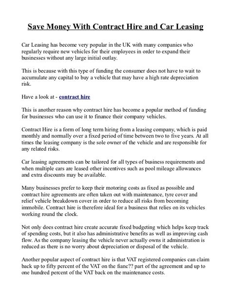 Agreement Letter For Car Hire Purchase Save Money With Contract Hire And Car Leasing