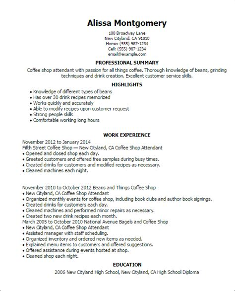 Coffee Shop Attendant Cover Letter by Professional Coffee Shop Attendant Templates To Showcase
