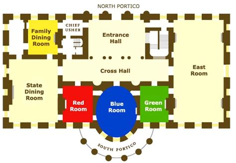 white house first floor plan white house red blue and green rooms real estate decor