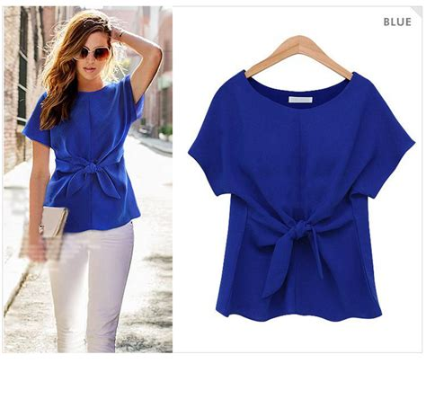 Bow Neck Chiffon Shirt 2016 fashion sleeve shirt bow chiffon shirt o neck