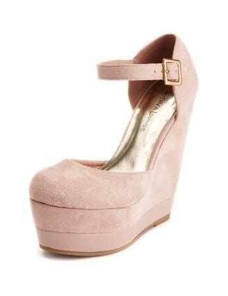 High Heels Op05 Wmk pink suede wedges
