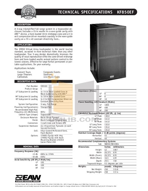 The Manual Of Speaking pdf manual for eaw speaker system sb850r