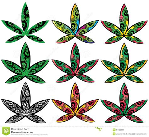 cannabis marijuana ganja decorative style leaf symbol