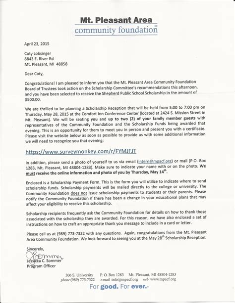 Scholarship Letter Career Goals Individual Goals Coty Lobsinger S Professional Portfolio