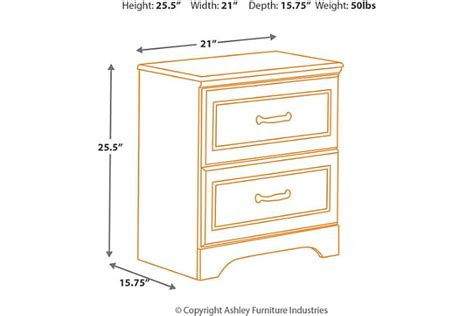 nightstand dimensions standard lulu nightstand ashley furniture homestore