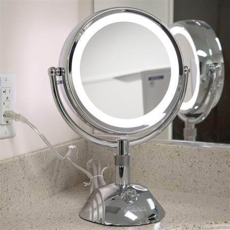 Magnifying Bathroom Mirror With Light Mirrors Bathroom Vanity Table With Lighted Magnifying Mirror Magnified Vanity Makeup Mirrors In