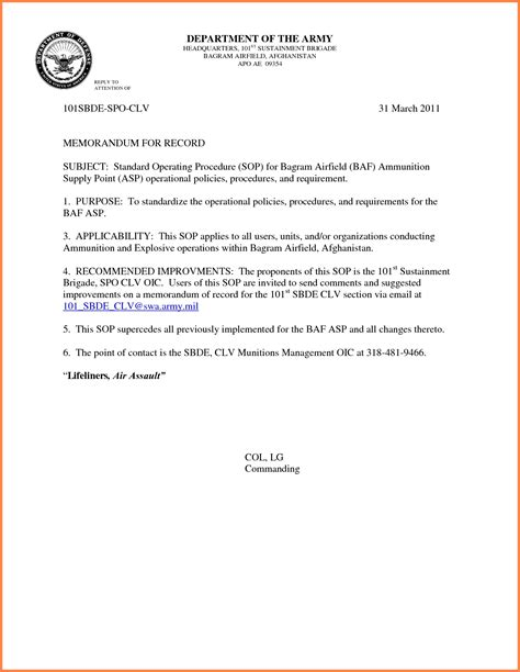 sle memorandum template memorandum for record army exle wlc calendar
