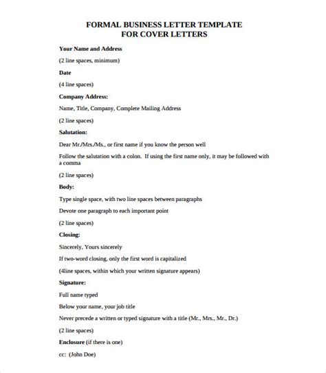 Formal Template Pdf Business Letter Template 20 Free Sle Exle Format