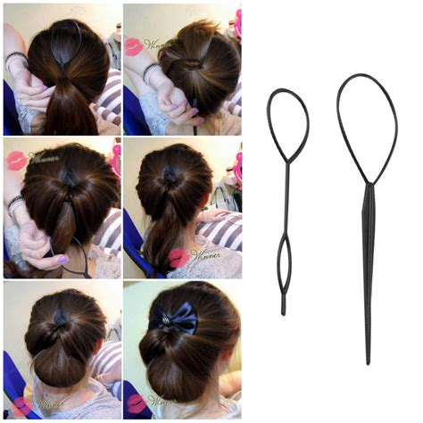Free Hairstyle Tools by 2 Pcs Ponytail Creator Plastic Loop Styling Tools Black