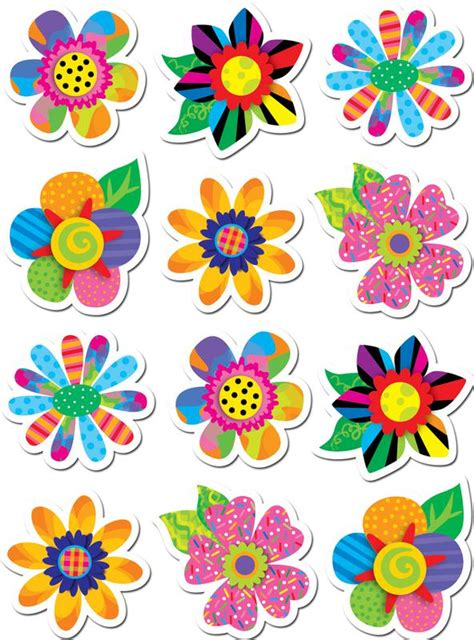 free printable flowers for bulletin boards poppin patterns spring flowers stickers ctp4114