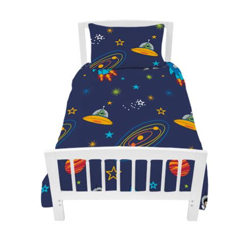 Single Bed Sets For Boys Single Bed Size Duvet Cover Set Space Boy Planets Rocket Pillowcase Children S Ebay