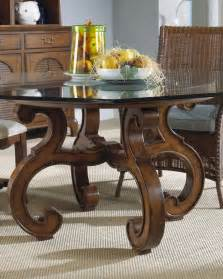 old style glass top round dining tables with wood base and