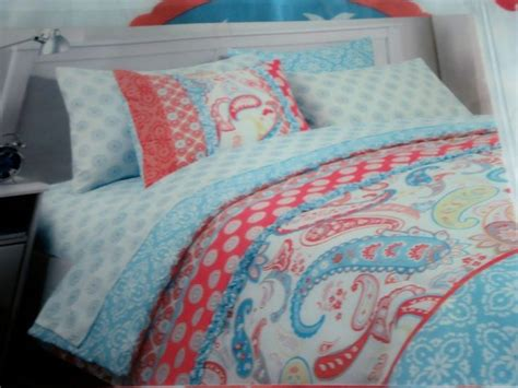 Coral And Aqua Bedding by Cynthia Rowley Coral Aqua Blue White Paisley Floral 2p