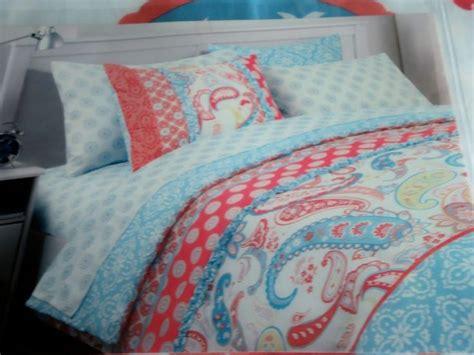 Cynthia Rowley Comforters by Cynthia Rowley Coral Aqua Blue White Paisley Floral 2p