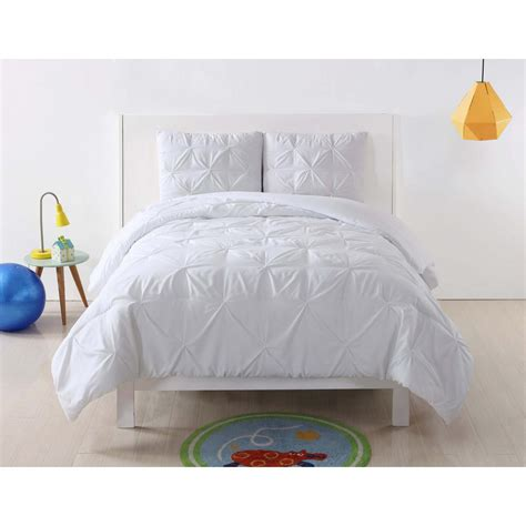 laura hart kids anytime pleated white twin xl comforter