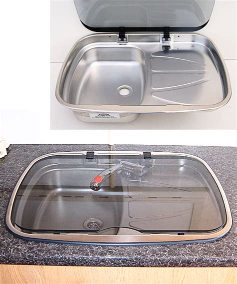 caravan sink with lid spinflo stainless sink with glass lid