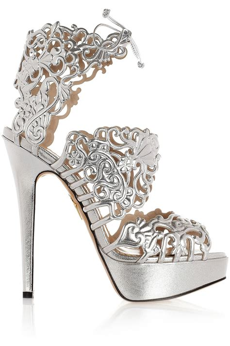 silver sandal high heels vintage black and white suede cut out heel sandals