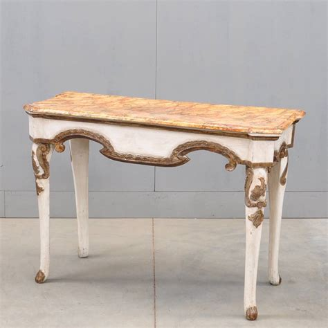 white and gold table white gold polychrome console table de grande antique