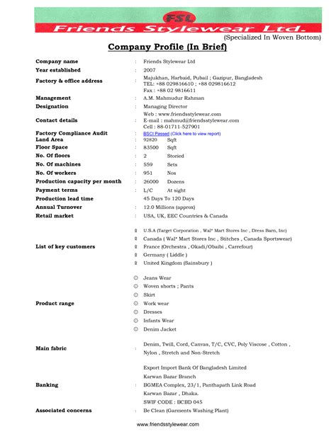 Biodata Briefformat Pics Photos Company Profile Sle Construction Company Profile Template Pdf Sle For Word